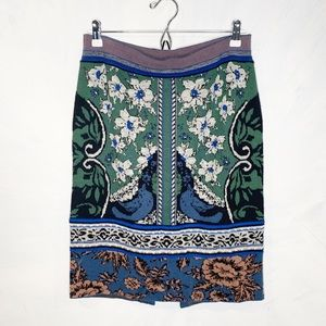 MOTH Wool Blend Knit Jacquard Floral Sweater Skirt